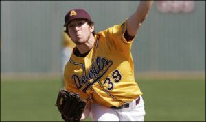Ike Davis pitching in college