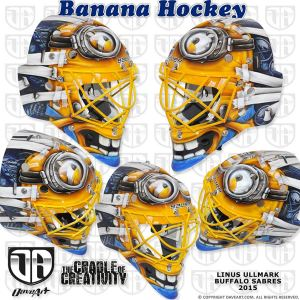 Linus Ullmark's minion-themed mask