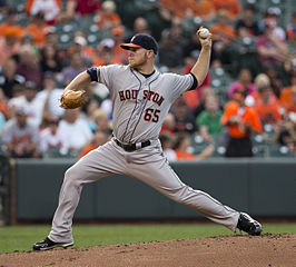"Brett Oberholtzer as an Astro. Photo: Keith Allison on Flickr (Originally posted to Flickr as ""Brett Oberholtzer"") [CC BY-SA 2.0 (http://creativecommons.org/licenses/by-sa/2.0)], via Wikimedia Commons"